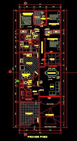 فایل اتوکد پلان معماری طبقه همکف منزل مسکونی 3 طبقه با مبلمان کامل قابل ویرایش