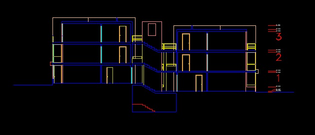 فایل اتوکد برش آپارتمان مسکونی 12 واحدی 3 طبقه با کد ارتفاعی کامل قابل ویرایش