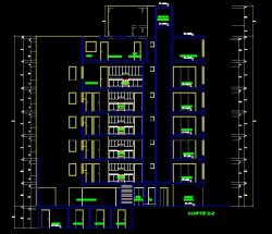 فایل اتوکد برش آپارتمان 6 طبقه با کد ارتفاعی کامل قابل ویرایش