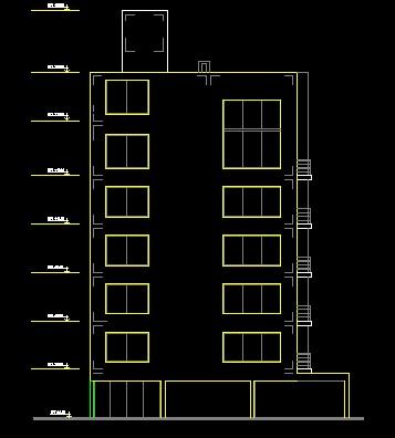 فایل اتوکد نما آپارتمان 6 طبقه با کد ارتفاعی کامل قابل ویرایش
