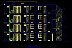 فایل اتوکد برش ساختمان آپارتمان 4 طبقه با کد ارتفاعی کامل قابل ویرایش