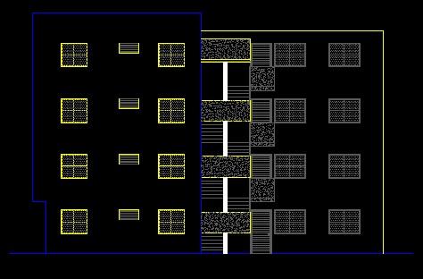 فایل اتوکد نما ساختمان آپارتمان 4 طبقه کامل قابل ویرایش
