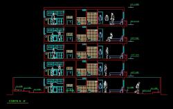 فایل اتوکد برش ساختمان آپارتمان 4 طبقه روی پیلوت با کد ارتفاعی کامل قابل ویرایش