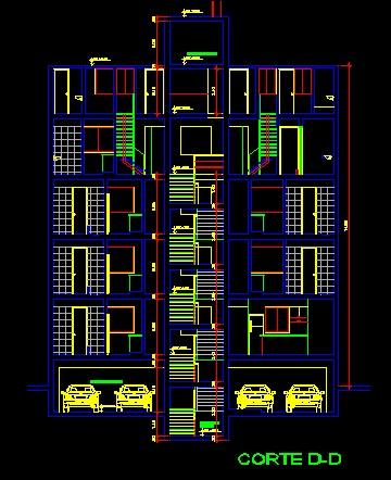 فایل اتوکد برش آپارتمان مسکونی 4 طبقه 8 واحدی با کد ارتفاعی کامل قابل ویرایش