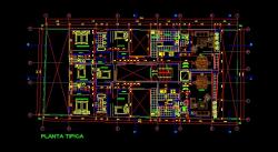 فایل اتوکد پلان معماری تیپ طبقات آپارتمان مسکونی 4 طبقه 8 واحدی با مبلمان و اندازه گذاری کامل قابل ویرایش