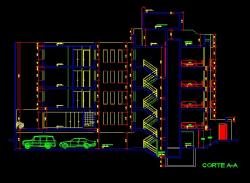 فایل اتوکد برش آپارتمان مسکونی 4 طبقه 8 واحدی با کد ارتفاعی کامل رد شده از پله قابل ویرایش